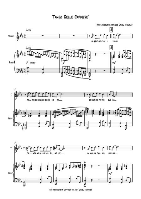 'Tango Delle Capinere' for Piano and Tenor Solo