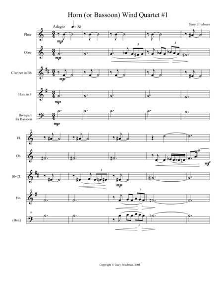 Horn (or Bassoon) Wind Quartet #1