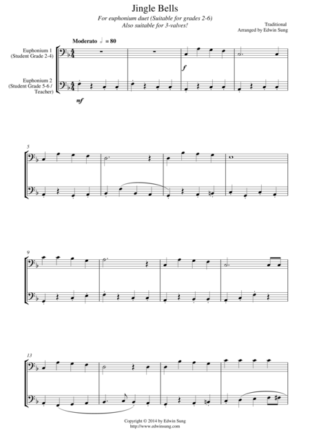 Jingle Bells (for euphonium duet (bass clef, 3 or 4 valved), suitable for grades 2-6)