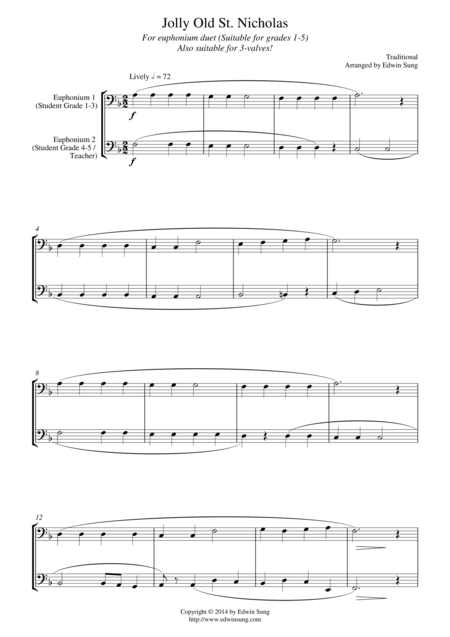 Jolly Old St. Nicholas (for euphonium duet (bass clef, 3 or 4 valved), suitable for grades 1-5)
