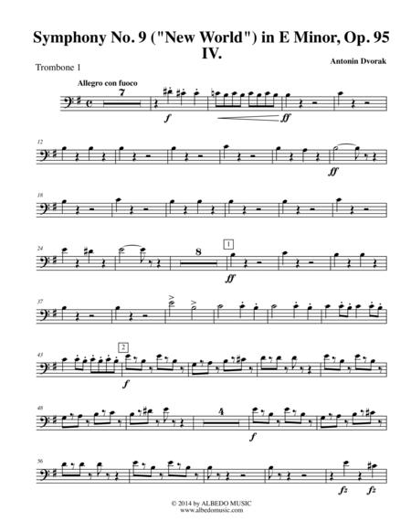 Dvorak Symphony No. 9, New World, Movement IV - Trombone in Bass Clef 1 (Transposed Part), Op.95