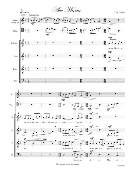 Ave Maria (SATB, Oboe (opt. Violin), and Cello)