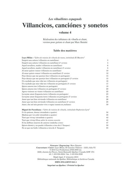Villancicos, canciones y sonetos, vol. 4