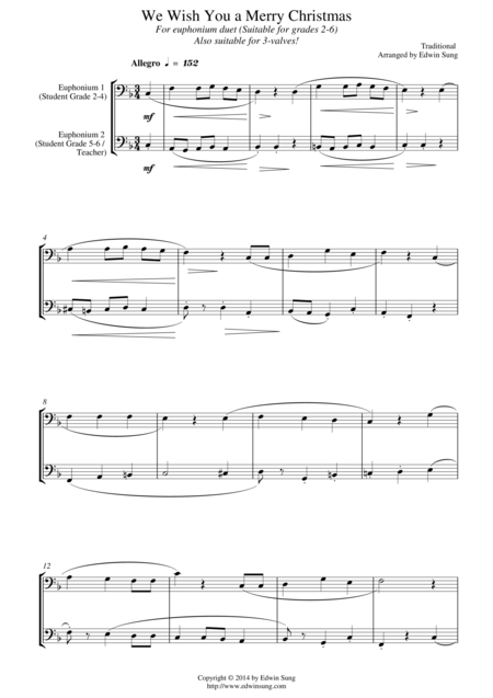 We Wish You a Merry Christmas (for euphonium duet (bass clef, 3 or 4 valved), suitable for grades 2-6)