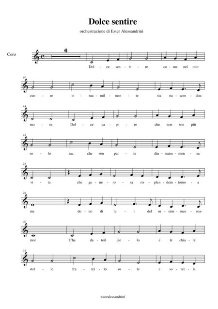 Dolce sentire ( fratello Sole e sorella Luna) parte per coro