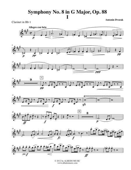 Dvorak Symphony No. 8, Movement I - Clarinet in Bb 1 (Transposed Part), Op. 88