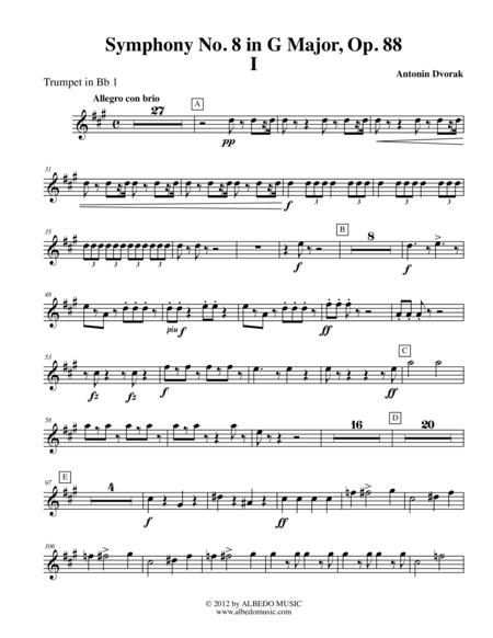 Dvorak Symphony No. 8, Movement I - Trumpet in Bb 1 (Transposed Part), Op. 88