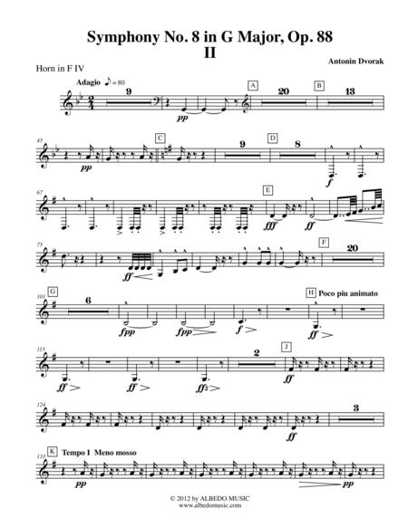 Dvorak Symphony No. 8, Movement II - Horn in F 4 (Transposed Part), Op. 88