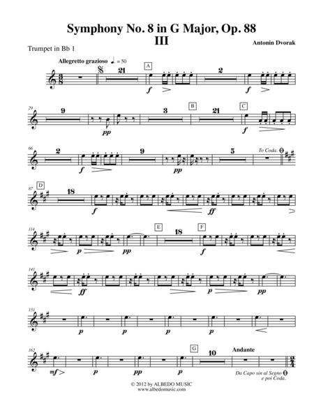 Dvorak Symphony No. 8, Movement III - Trumpet in Bb 1 (Transposed Part), Op. 88