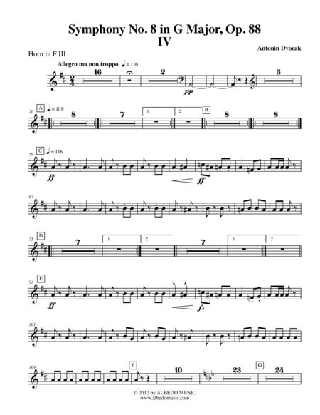 Dvorak Symphony No. 8, Movement IV - Horn in F 3 (Transposed Part), Op. 88