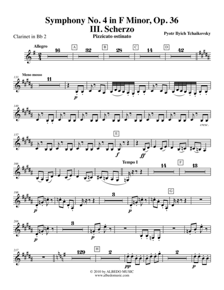 Tchaikovsky Symphony No. 4, Movement III - Clarinet in Bb 2 (Transposed Part), Op. 36