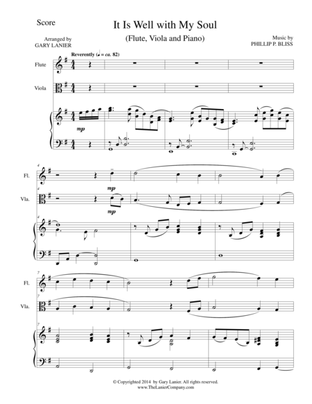 IT IS WELL WITH MY SOUL (Trio - Flute, Viola, Piano with Score and Parts)