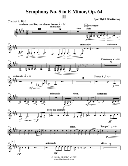 ‪Tchaikovsky‬ Symphony No. 5, Movement II - Clarinet in Bb 1 (Transposed Part), Op. 64