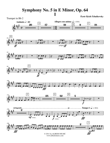 ‪Tchaikovsky‬ Symphony No. 5, Movement I - Trumpet in Bb 2 (Transposed Part), Op. 64