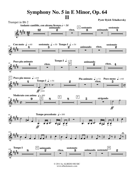 Tchaikovsky Symphony No. 5, Movement II - Trumpet in Bb 2 (Transposed Part), Op. 64