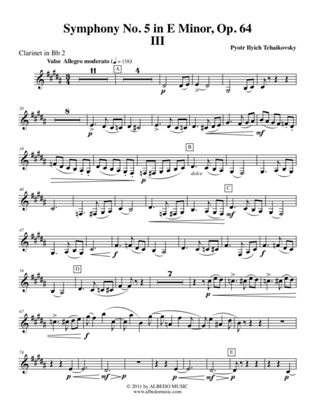 Tchaikovsky Symphony No. 5, Movement III - Clarinet in Bb 2 (Transposed Part), Op. 64