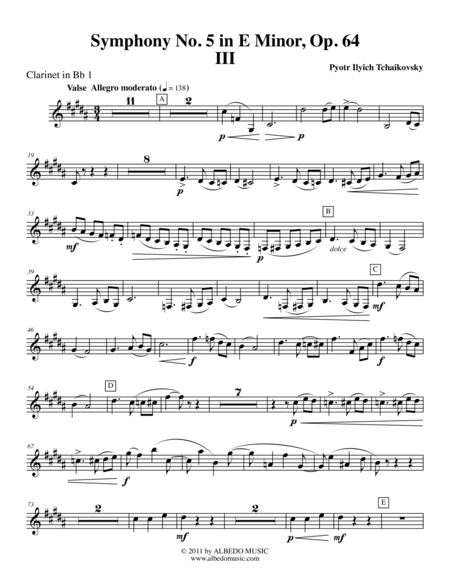 ‪Tchaikovsky‬ Symphony No. 5, Movement III - Clarinet in Bb 1 (Transposed Part), Op. 64
