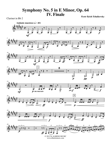 Tchaikovsky Symphony No. 5, Movement IV - Clarinet in Bb 2 (Transposed Part), Op. 64