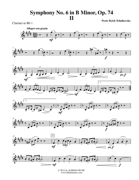 Tchaikovsky Symphony No. 6, Movement II - Clarinet in Bb 1 (Transposed Part), Op. 74