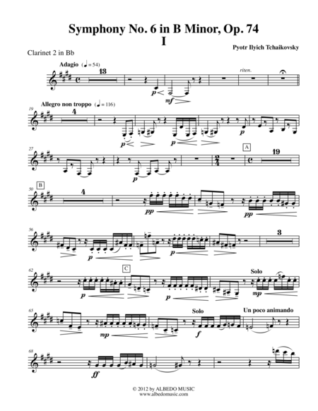 ‪Tchaikovsky‬ Symphony No. 6, Movement I - Clarinet in Bb 2 (Transposed Part), Op. 74