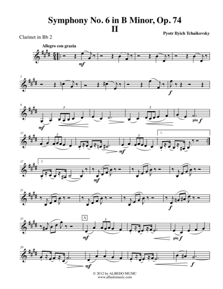 Tchaikovsky Symphony No. 6, Movement II - Clarinet in Bb 2 (Transposed Part), Op. 74