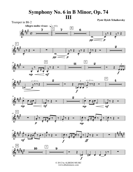 ‪Tchaikovsky‬ Symphony No. 6, Movement III - Trumpet in Bb 2 (Transposed Part), Op. 74