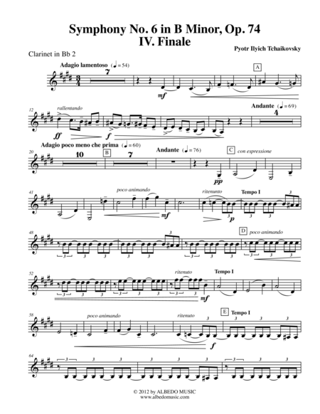 Tchaikovsky Symphony No. 6, Movement IV - Clarinet in Bb 2 (Transposed Part), Op. 74