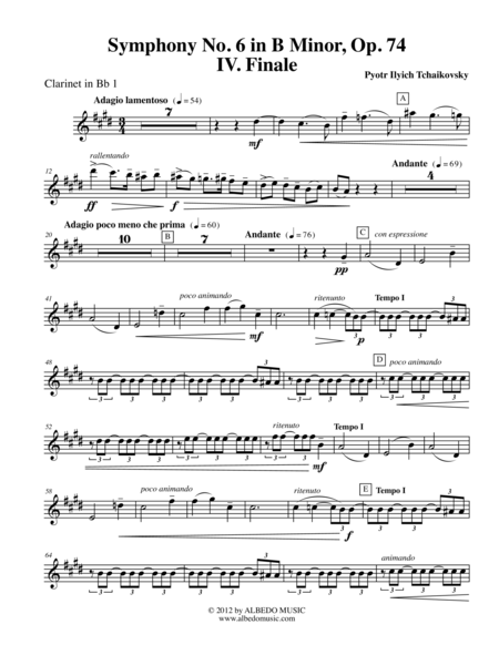 Tchaikovsky Symphony No. 6, Movement IV - Clarinet in Bb 1 (Transposed Part), Op. 74