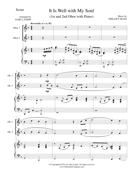 IT IS WELL WITH MY SOUL (Trio - Oboe 1, Oboe 2, Piano with Score and Parts)