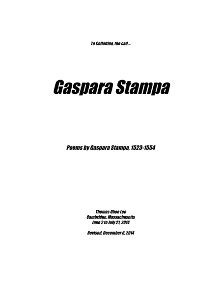 Gaspara Stampa (2014) for soprano and piano
