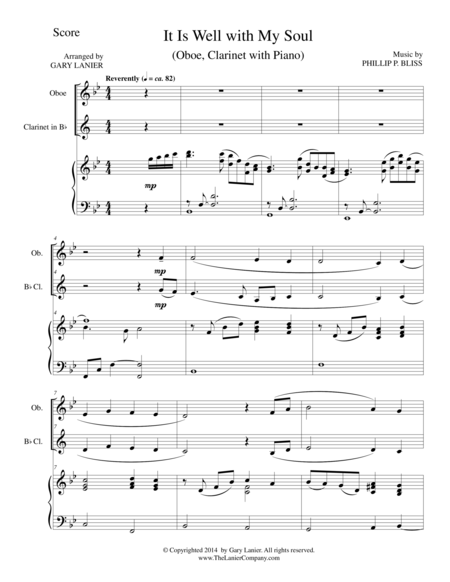 IT IS WELL WITH MY SOUL (Trio - Oboe, Bb Clarinet, Piano with Score and Parts)