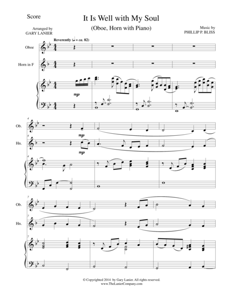 IT IS WELL WITH MY SOUL (Trio - Oboe, Horn, Piano with Score and Parts)