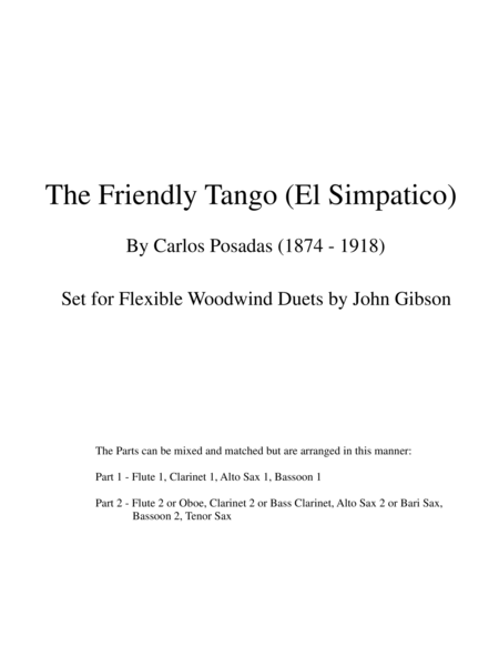 The Friendly Tango by Carlos Posadas set for flexible woodwind duets