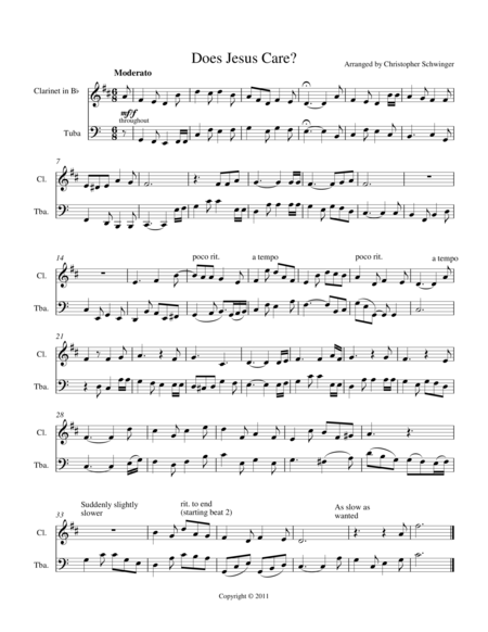 Does Jesus Care duet for Bb clarinet/Bb trumpet and tuba