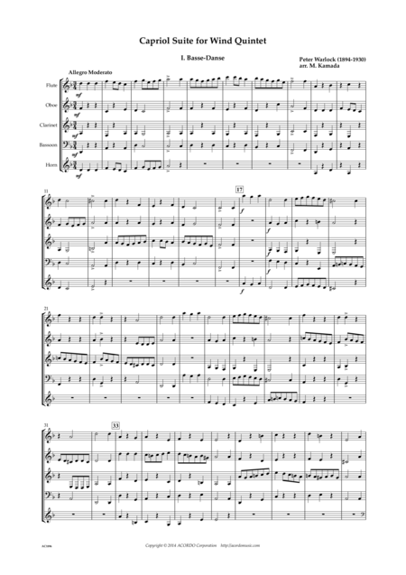 Capriol Suite for Wind Quintet