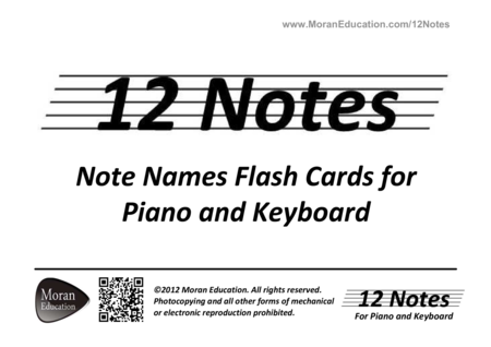 Piano and Keyboard Note Names Flash Cards