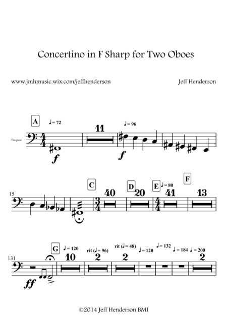 Concertino in F Sharp for Two Oboes (No Key Signature)