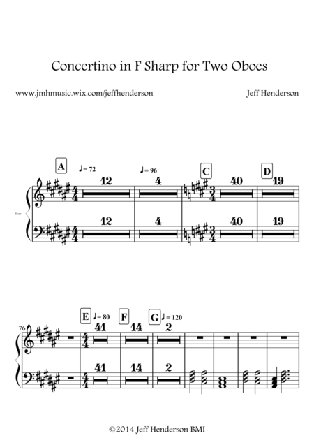 Concertino in F Sharp for Two Oboes