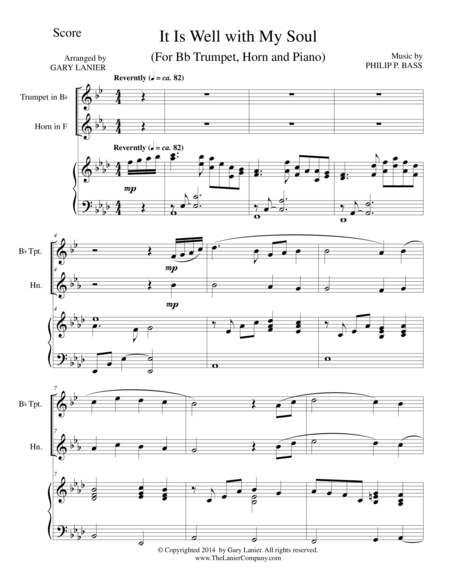IT IS WELL WITH MY SOUL (Trio - Bb Trumpet, Horn, Piano with Score and Parts)