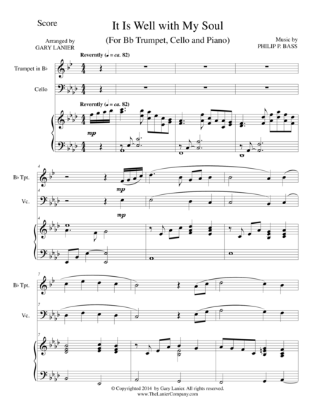 IT IS WELL WITH MY SOUL (Trio - Bb Trumpet, Cello, Piano with Score and Parts)