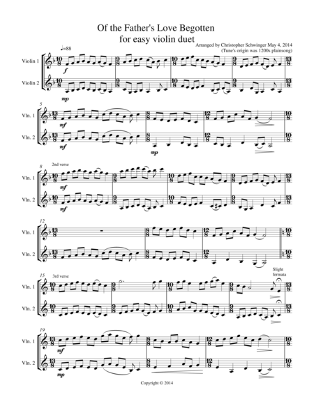 Of the Father's Love Begotten - violin duet