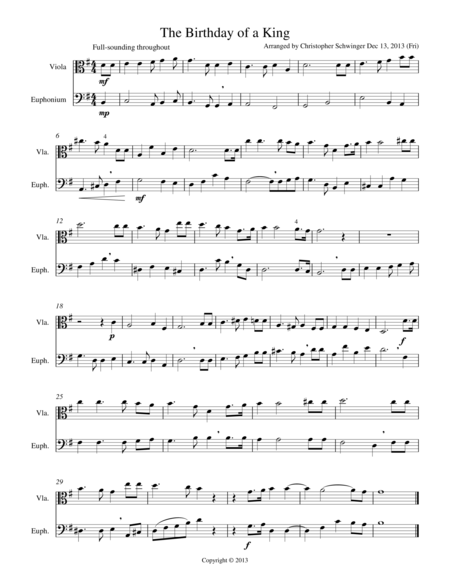 The Birthday of a King - duet for viola & euphonium or French horn