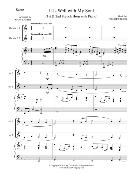 IT IS WELL WITH MY SOUL (Trio - French Horn 1 & 2, and Piano with Score and Parts)