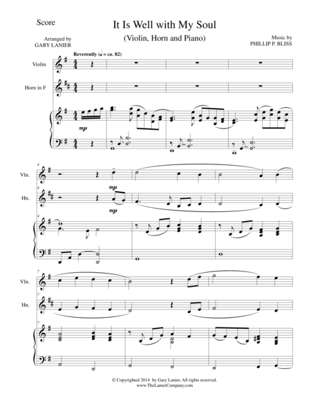 IT IS WELL WITH MY SOUL (Trio - Violin, Horn, Piano with Score and Parts)