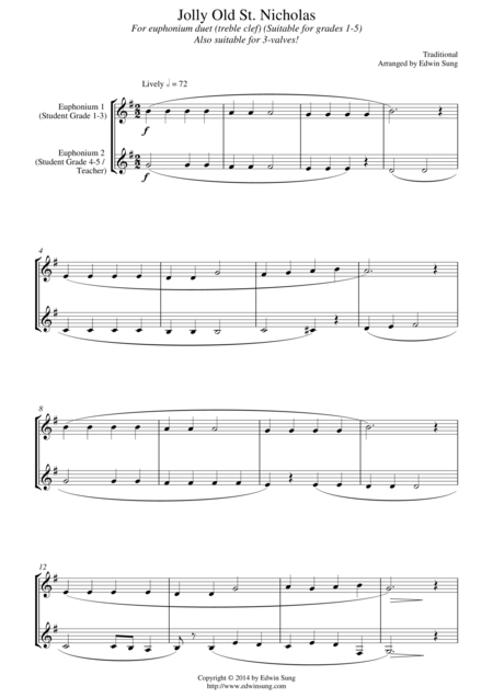 Jolly Old St. Nicholas (for euphonium duet (Bb treble, 3 or 4 valved), suitable for grades 1-5)