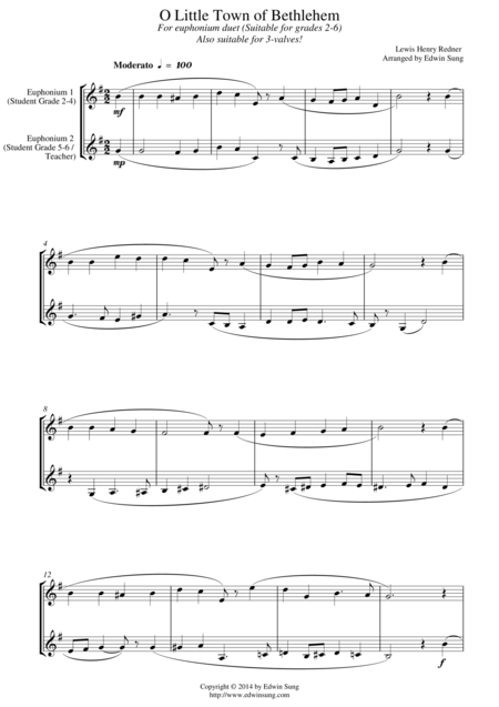 O Little Town of Bethlehem (for euphonium duet (Bb treble, 3 or 4 valved), suitable for grades 2-6)