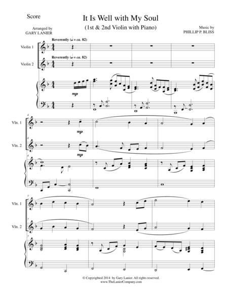 IT IS WELL WITH MY SOUL (Trio - 1st Violin, 2nd Violin, Piano with Score and Parts)