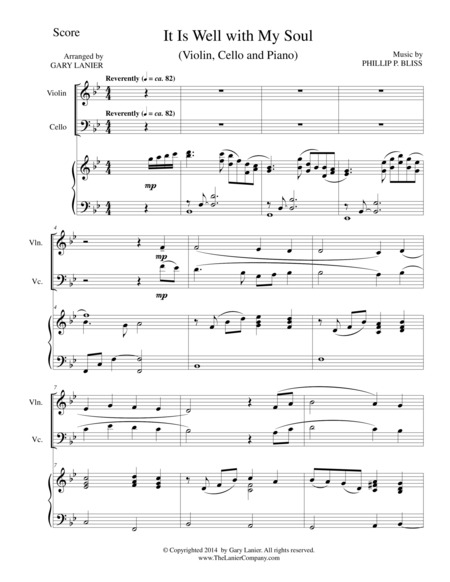 IT IS WELL WITH MY SOUL (Trio - Violin, Cello and Piano with Score and Parts)