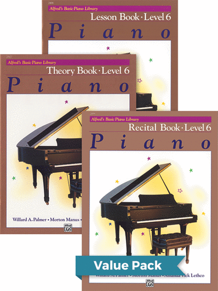 Alfred's Basic Piano Course - Lesson, Theory, Recital Level 6 (Value Pack)