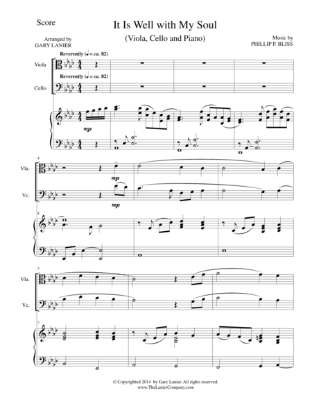 IT IS WELL WITH MY SOUL (Trio - Viola, Cello, Piano with Score and Parts)